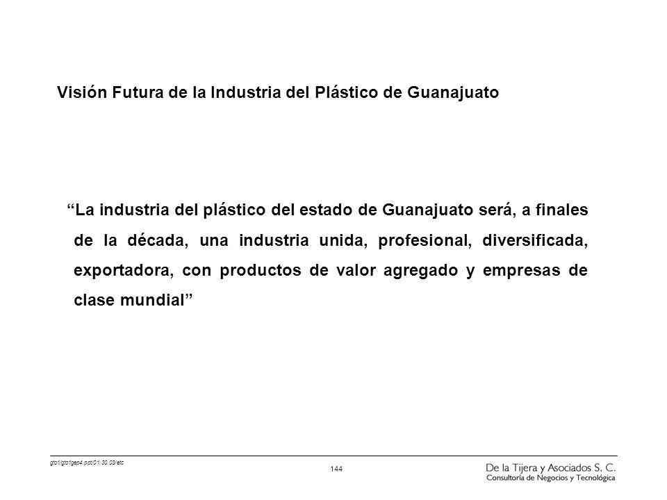 gto1/gto1gep4.ppt/01.30.03/etc 144 Visión Futura de la Industria del Plástico de Guanajuato La industria del plástico del estado de Guanajuato será, a