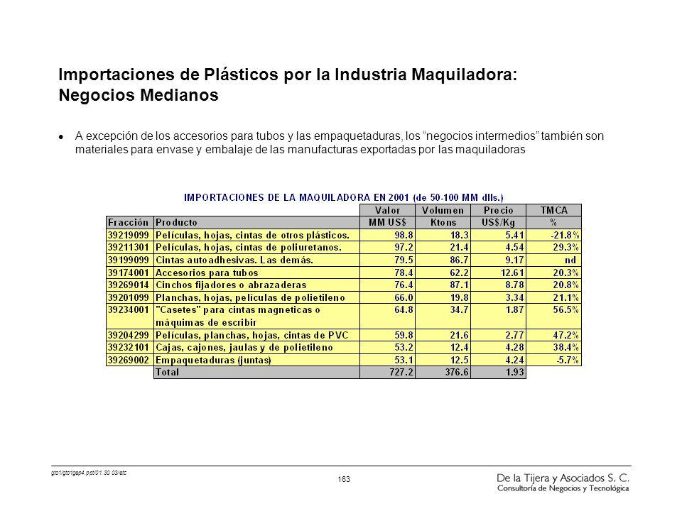gto1/gto1gep4.ppt/01.30.03/etc 163 Importaciones de Plásticos por la Industria Maquiladora: Negocios Medianos l A excepción de los accesorios para tub