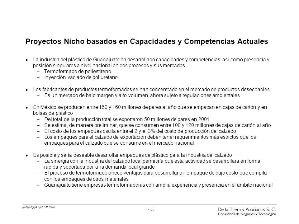 gto1/gto1gep4.ppt/01.30.03/etc 165 Proyectos Nicho basados en Capacidades y Competencias Actuales l La industria del plástico de Guanajuato ha desarro
