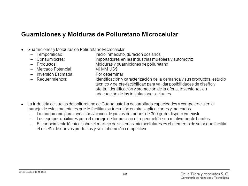 gto1/gto1gep4.ppt/01.30.03/etc 167 Guarniciones y Molduras de Poliuretano Microcelular l Guarniciones y Molduras de Poliuretano Microcelular –Temporal