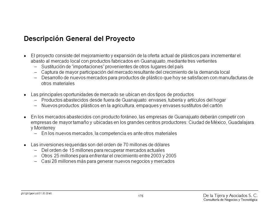 gto1/gto1gep4.ppt/01.30.03/etc 175 Descripción General del Proyecto l El proyecto consiste del mejoramiento y expansión de la oferta actual de plástic