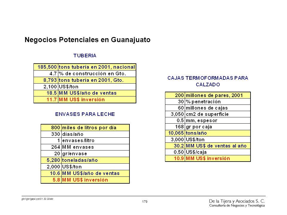 gto1/gto1gep4.ppt/01.30.03/etc 179 Negocios Potenciales en Guanajuato