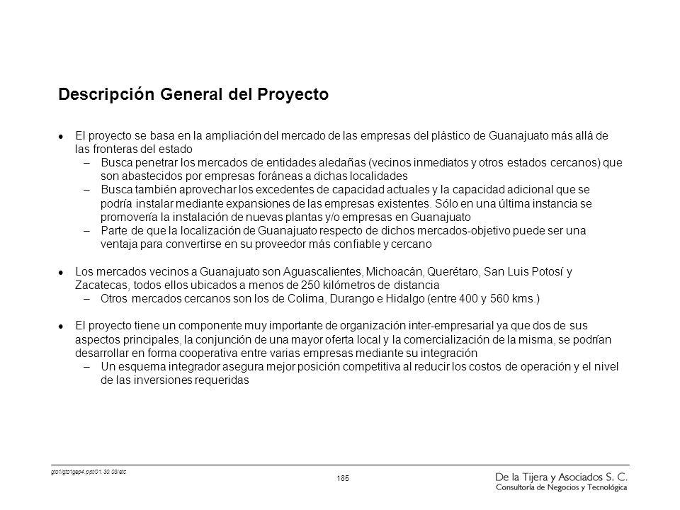 gto1/gto1gep4.ppt/01.30.03/etc 185 Descripción General del Proyecto l El proyecto se basa en la ampliación del mercado de las empresas del plástico de