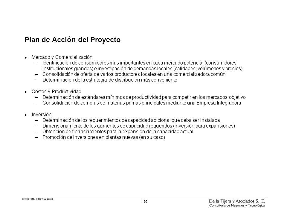 gto1/gto1gep4.ppt/01.30.03/etc 192 Plan de Acción del Proyecto l Mercado y Comercialización –Identificación de consumidores más importantes en cada me