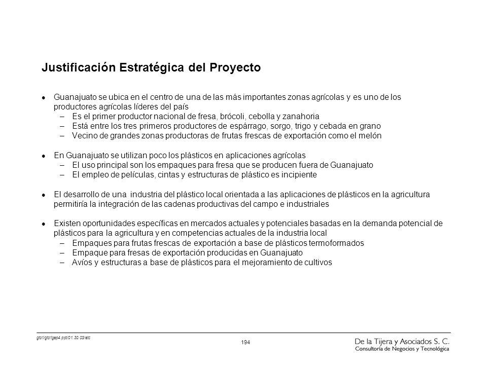 gto1/gto1gep4.ppt/01.30.03/etc 194 Justificación Estratégica del Proyecto l Guanajuato se ubica en el centro de una de las más importantes zonas agríc