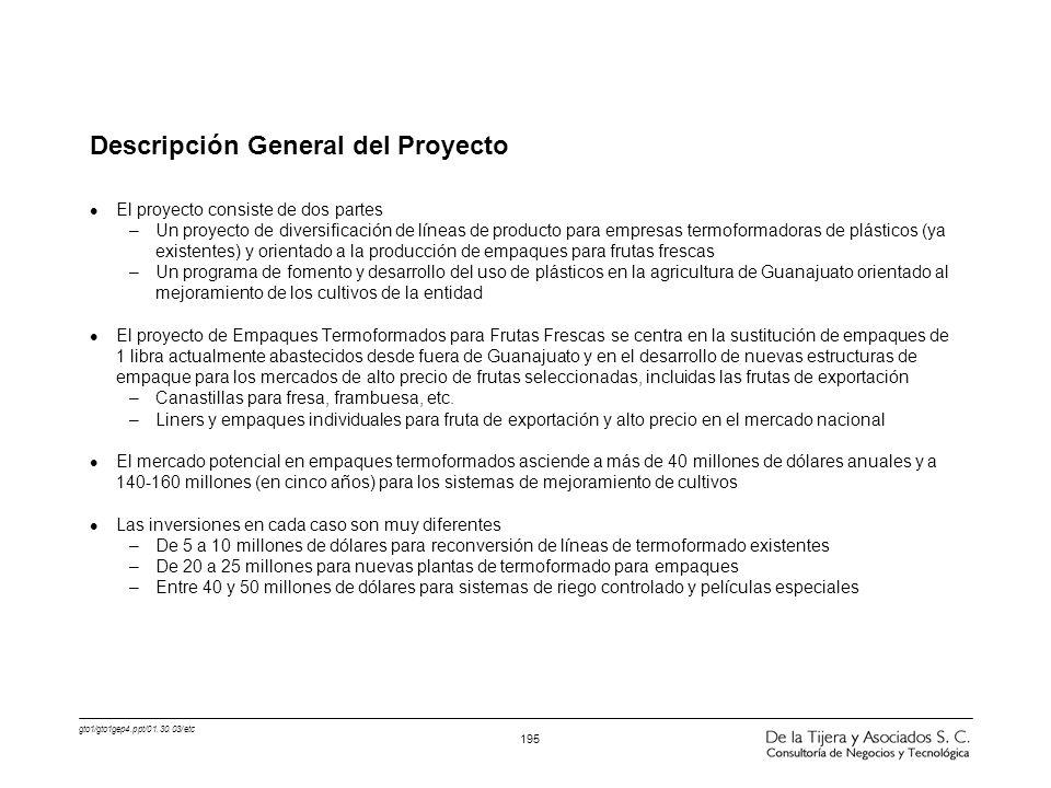 gto1/gto1gep4.ppt/01.30.03/etc 195 Descripción General del Proyecto l El proyecto consiste de dos partes –Un proyecto de diversificación de líneas de