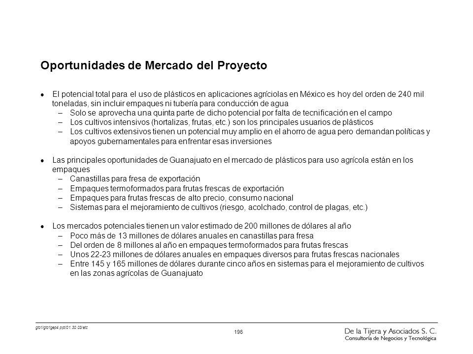 gto1/gto1gep4.ppt/01.30.03/etc 196 Oportunidades de Mercado del Proyecto l El potencial total para el uso de plásticos en aplicaciones agríciolas en M