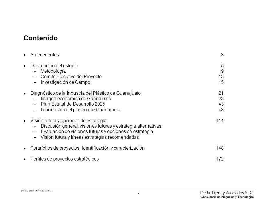 gto1/gto1gep4.ppt/01.30.03/etc 2 Contenido l Antecedentes 3 l Descripción del estudio 5 –Metodología 9 –Comité Ejecutivo del Proyecto 13 –Investigació