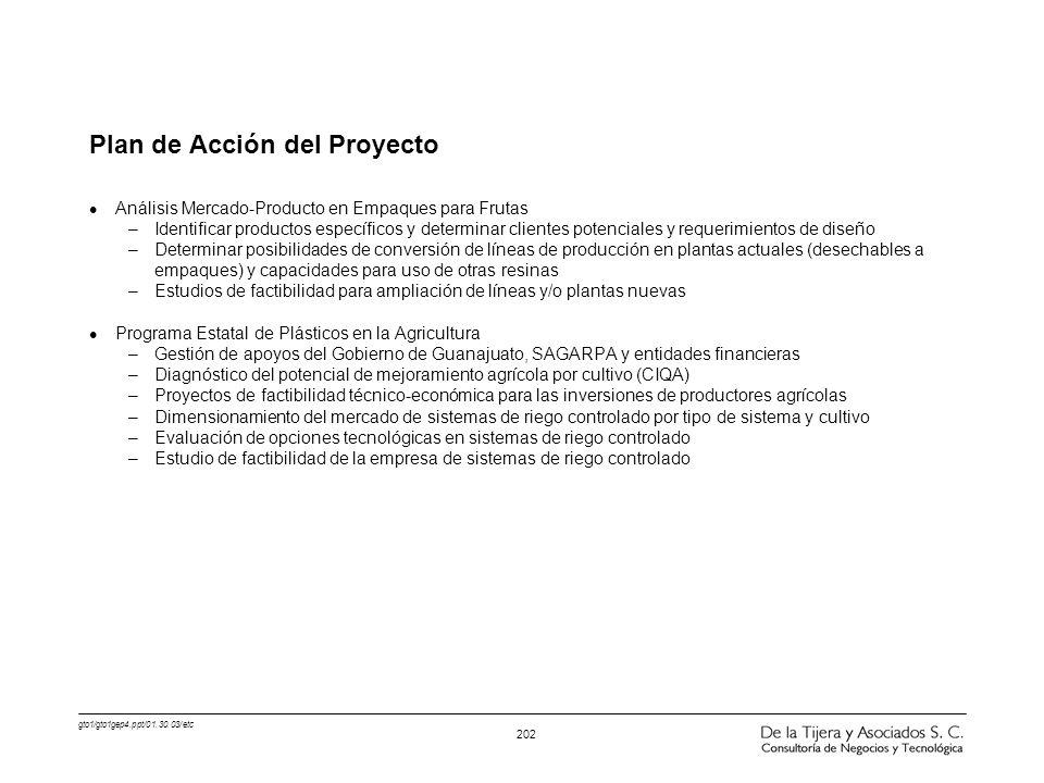 gto1/gto1gep4.ppt/01.30.03/etc 202 Plan de Acción del Proyecto l Análisis Mercado-Producto en Empaques para Frutas –Identificar productos específicos