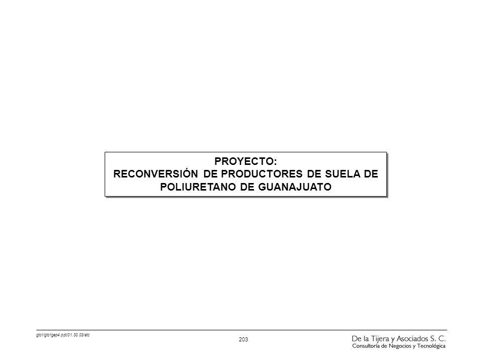 gto1/gto1gep4.ppt/01.30.03/etc 203 PROYECTO: RECONVERSIÓN DE PRODUCTORES DE SUELA DE POLIURETANO DE GUANAJUATO PROYECTO: RECONVERSIÓN DE PRODUCTORES D