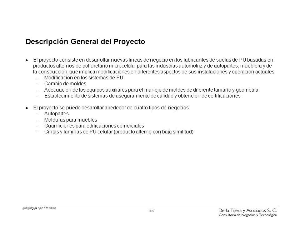 gto1/gto1gep4.ppt/01.30.03/etc 205 Descripción General del Proyecto l El proyecto consiste en desarrollar nuevas líneas de negocio en los fabricantes