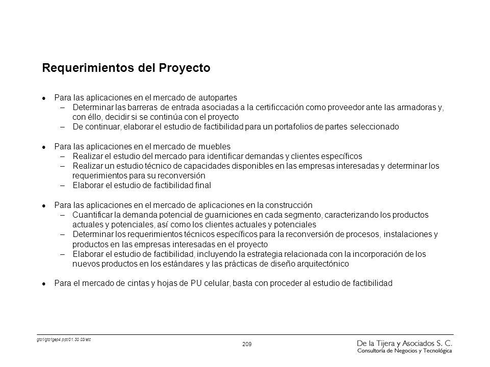 gto1/gto1gep4.ppt/01.30.03/etc 209 Requerimientos del Proyecto l Para las aplicaciones en el mercado de autopartes –Determinar las barreras de entrada