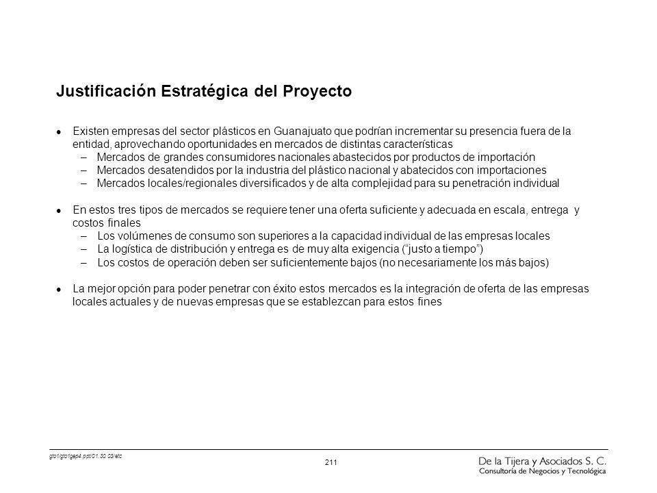 gto1/gto1gep4.ppt/01.30.03/etc 211 Justificación Estratégica del Proyecto l Existen empresas del sector plásticos en Guanajuato que podrían incrementa