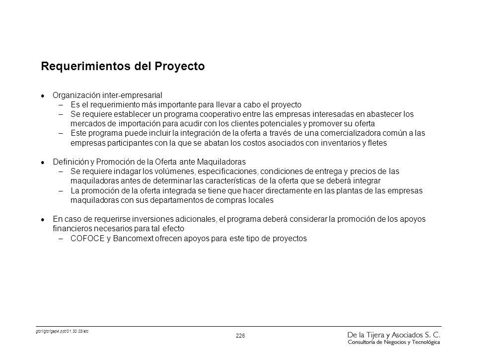gto1/gto1gep4.ppt/01.30.03/etc 226 Requerimientos del Proyecto l Organización inter-empresarial –Es el requerimiento más importante para llevar a cabo