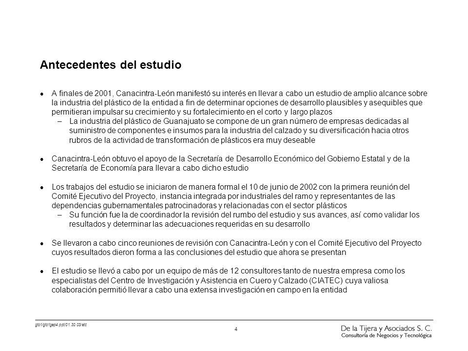 gto1/gto1gep4.ppt/01.30.03/etc 4 Antecedentes del estudio l A finales de 2001, Canacintra-León manifestó su interés en llevar a cabo un estudio de amp