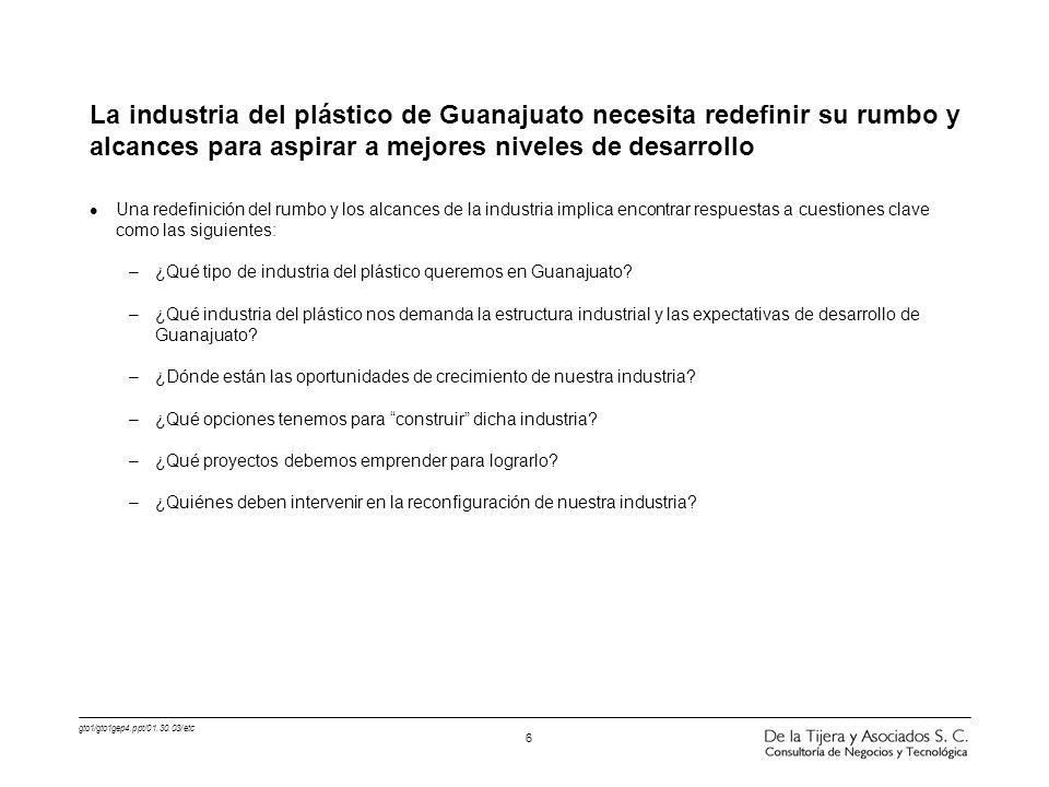 gto1/gto1gep4.ppt/01.30.03/etc 6 La industria del plástico de Guanajuato necesita redefinir su rumbo y alcances para aspirar a mejores niveles de desa