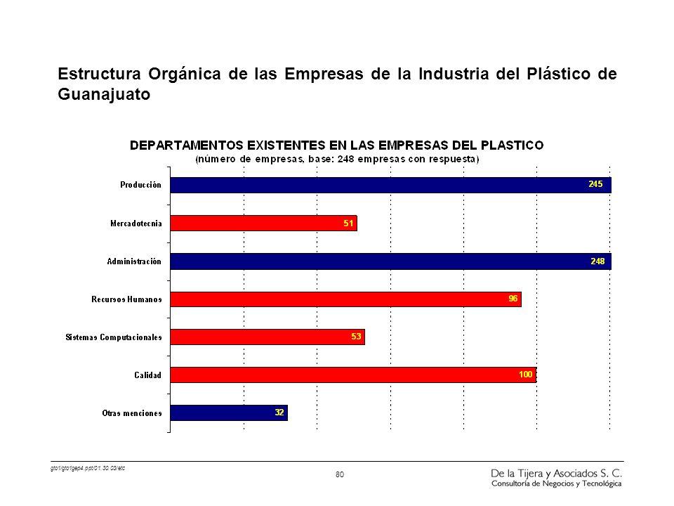 gto1/gto1gep4.ppt/01.30.03/etc 80 Estructura Orgánica de las Empresas de la Industria del Plástico de Guanajuato
