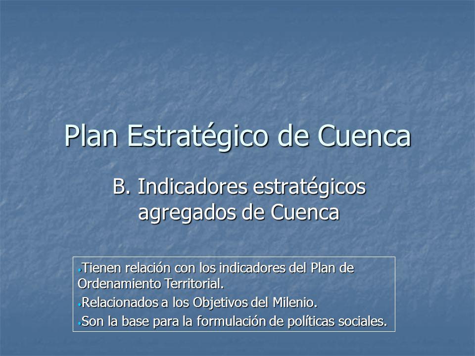 Plan Estratégico de Cuenca B. Indicadores estratégicos agregados de Cuenca Tienen relación con los indicadores del Plan de Ordenamiento Territorial. T