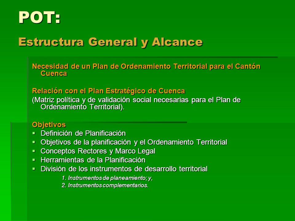 POT: Estructura General y Alcance Necesidad de un Plan de Ordenamiento Territorial para el Cantón Cuenca Relación con el Plan Estratégico de Cuenca (M