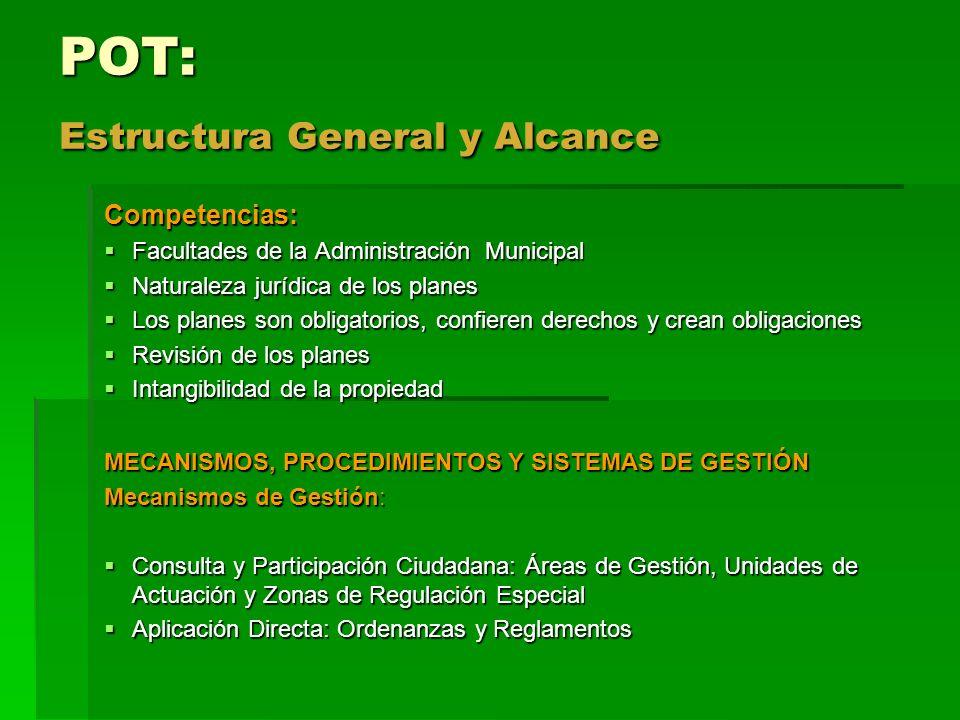 POT: Estructura General y Alcance Competencias: Facultades de la Administración Municipal Facultades de la Administración Municipal Naturaleza jurídic