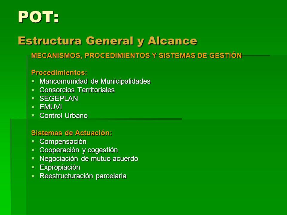 POT: Estructura General y Alcance MECANISMOS, PROCEDIMIENTOS Y SISTEMAS DE GESTIÓN Procedimientos: Mancomunidad de Municipalidades Mancomunidad de Mun