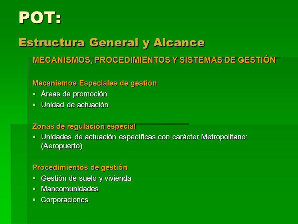 POT: Estructura General y Alcance MECANISMOS, PROCEDIMIENTOS Y SISTEMAS DE GESTIÓN Mecanismos Especiales de gestión Áreas de promoción Áreas de promoc