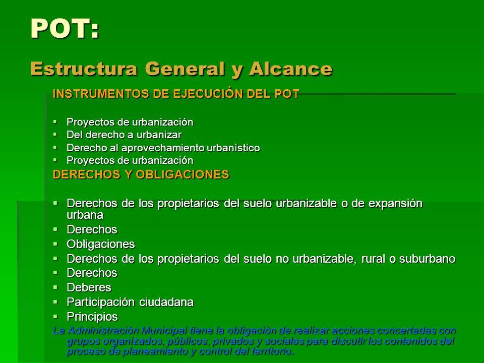 POT: Estructura General y Alcance INSTRUMENTOS DE EJECUCIÓN DEL POT Proyectos de urbanización Proyectos de urbanización Del derecho a urbanizar Del de