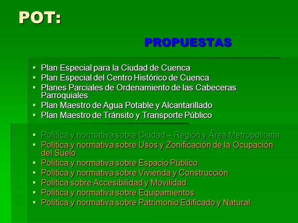 POT: PROPUESTAS Plan Especial para la Ciudad de Cuenca Plan Especial para la Ciudad de Cuenca Plan Especial del Centro Histórico de Cuenca Plan Especi