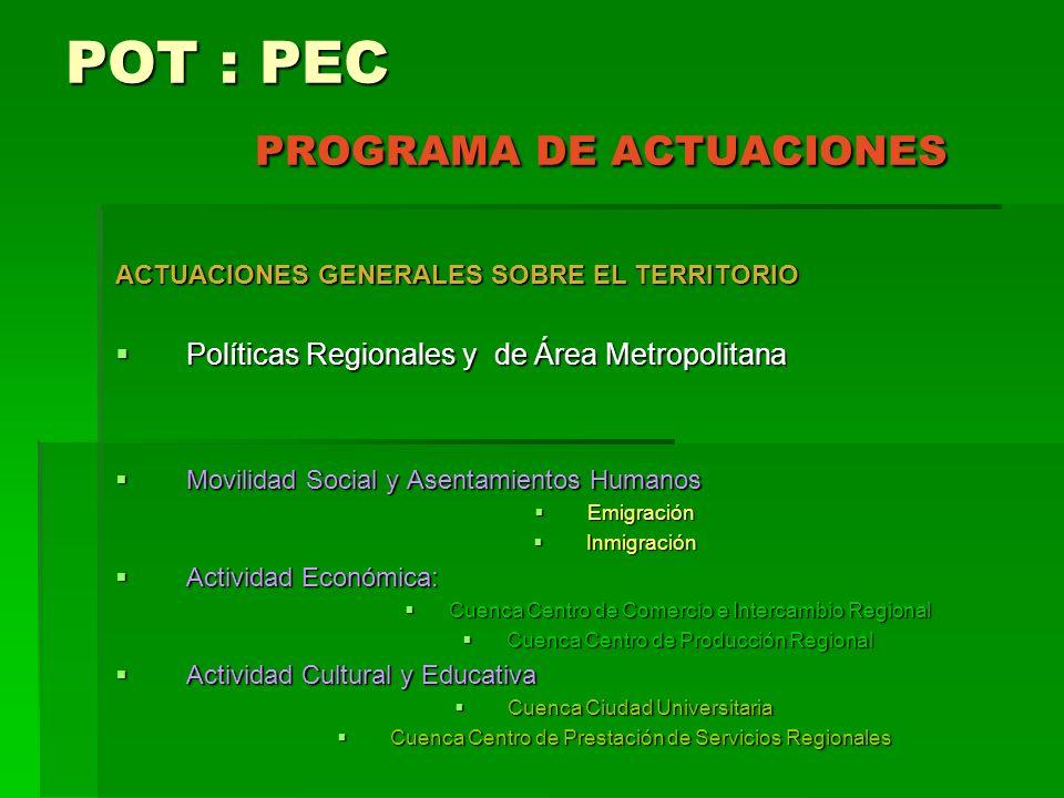 POT : PEC PROGRAMA DE ACTUACIONES ACTUACIONES GENERALES SOBRE EL TERRITORIO Políticas Regionales y de Área Metropolitana Políticas Regionales y de Áre