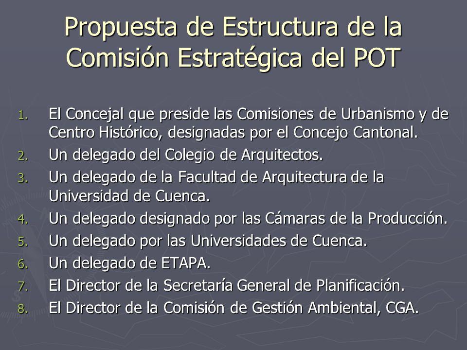 Propuesta de Estructura de la Comisión Estratégica del POT 1. El Concejal que preside las Comisiones de Urbanismo y de Centro Histórico, designadas po