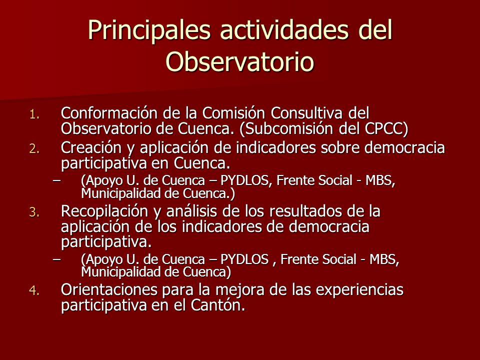Principales actividades del Observatorio 1. Conformación de la Comisión Consultiva del Observatorio de Cuenca. (Subcomisión del CPCC) 2. Creación y ap