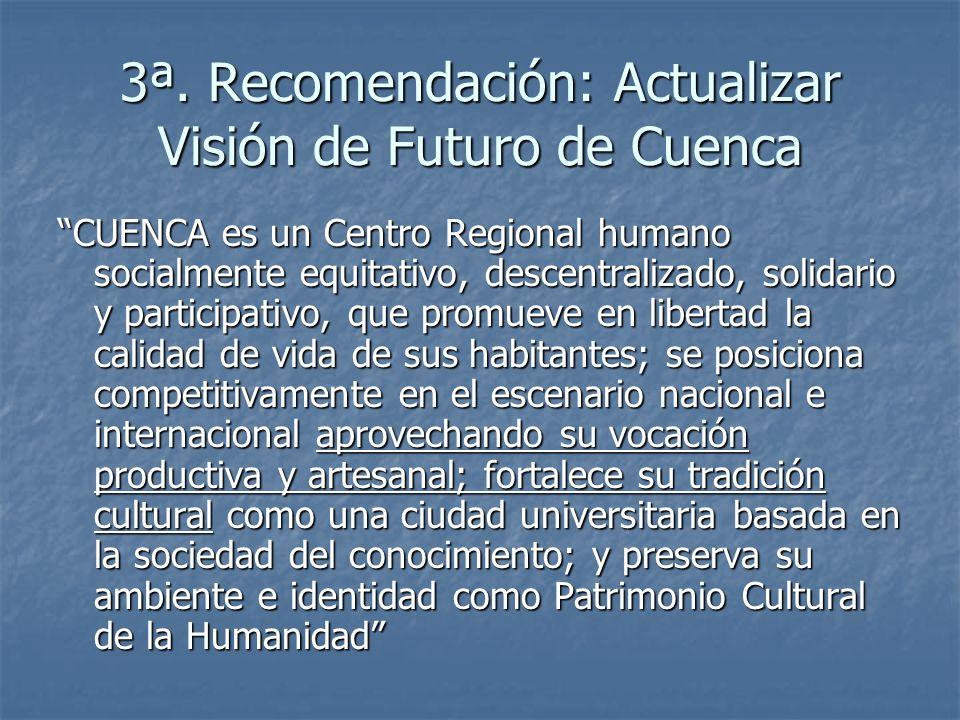 3ª. Recomendación: Actualizar Visión de Futuro de Cuenca CUENCA es un Centro Regional humano socialmente equitativo, descentralizado, solidario y part