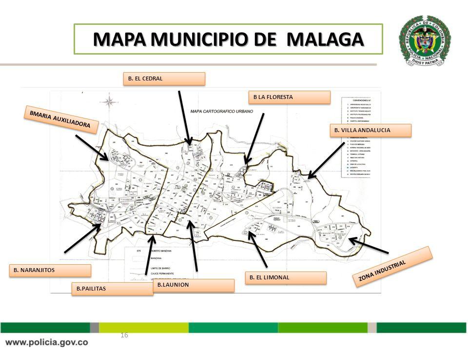 16 MAPA MUNICIPIO DE MALAGA BMARIA AUXILIADORA B. NARANJITOS B.PAILITAS B.LAUNION B. EL LIMONAL ZONA INDUSTRIAL B. VILLA ANDALUCIA B LA FLORESTA B. EL