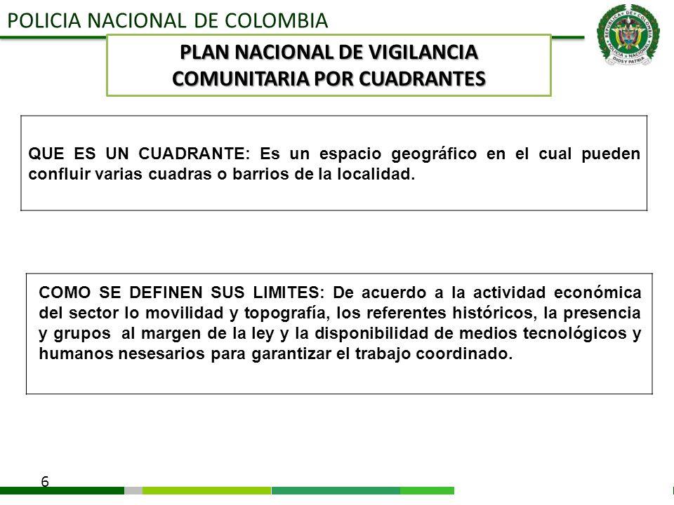POLICIA NACIONAL DE COLOMBIA 6 QUE ES UN CUADRANTE: Es un espacio geográfico en el cual pueden confluir varias cuadras o barrios de la localidad. PLAN