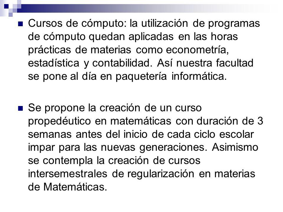 Cursos de cómputo: la utilización de programas de cómputo quedan aplicadas en las horas prácticas de materias como econometría, estadística y contabil