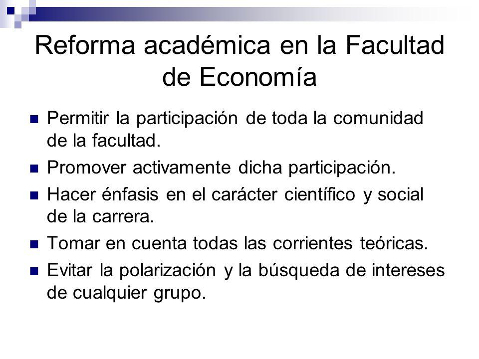 Reforma académica en la Facultad de Economía Permitir la participación de toda la comunidad de la facultad. Promover activamente dicha participación.