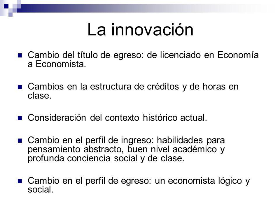 La innovación Cambio del título de egreso: de licenciado en Economía a Economista. Cambios en la estructura de créditos y de horas en clase. Considera