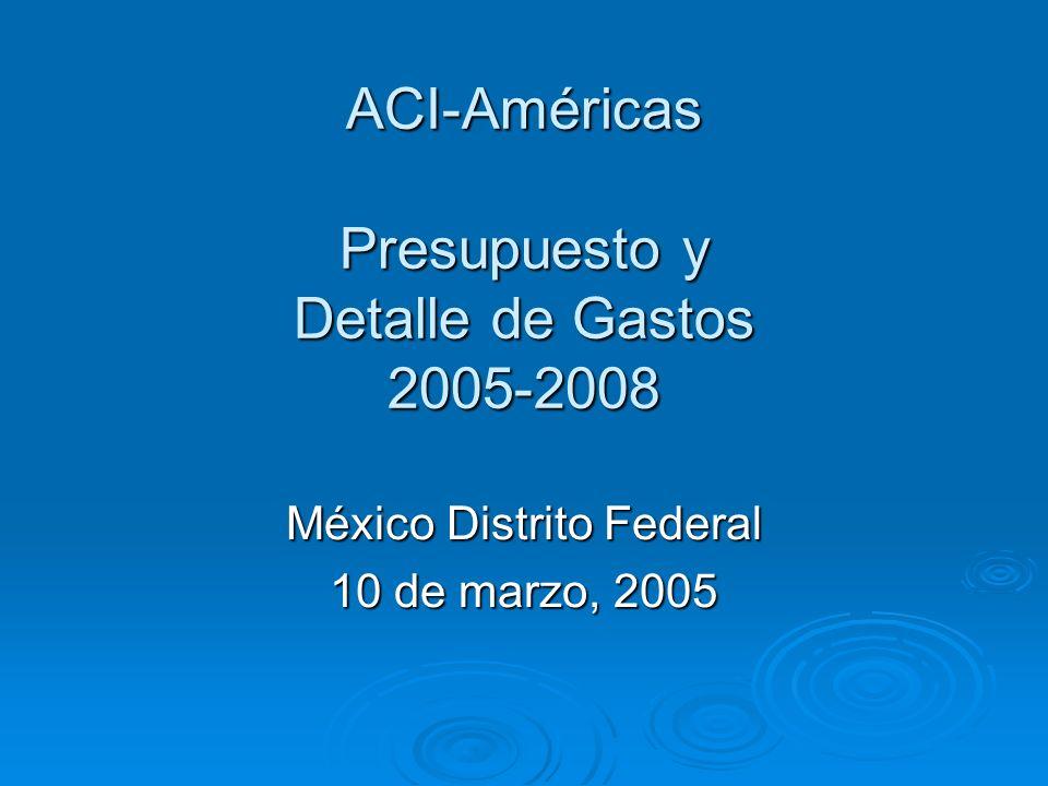 ACI-Américas Presupuesto y Detalle de Gastos 2005-2008 México Distrito Federal 10 de marzo, 2005