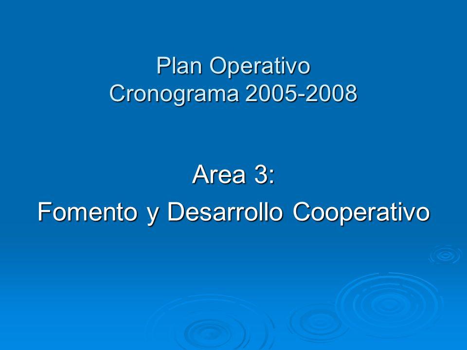Plan Operativo Cronograma 2005-2008 Area 3: Fomento y Desarrollo Cooperativo