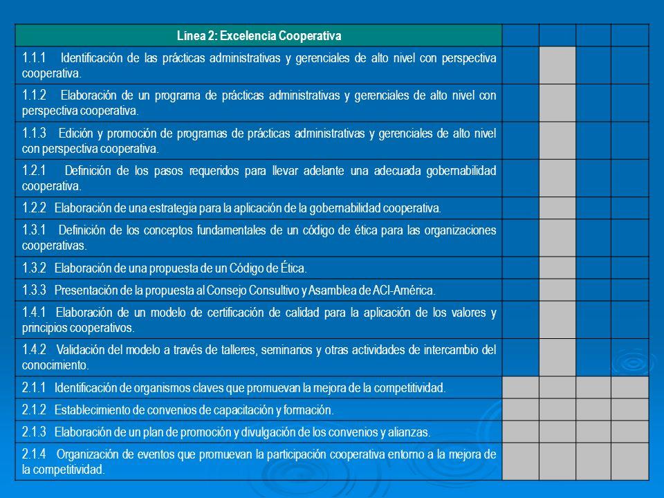 Línea 2: Excelencia Cooperativa 1.1.1 Identificación de las prácticas administrativas y gerenciales de alto nivel con perspectiva cooperativa.