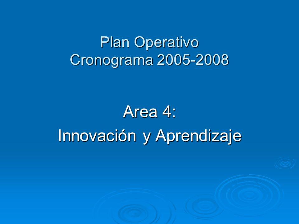 Plan Operativo Cronograma 2005-2008 Area 4: Innovación y Aprendizaje