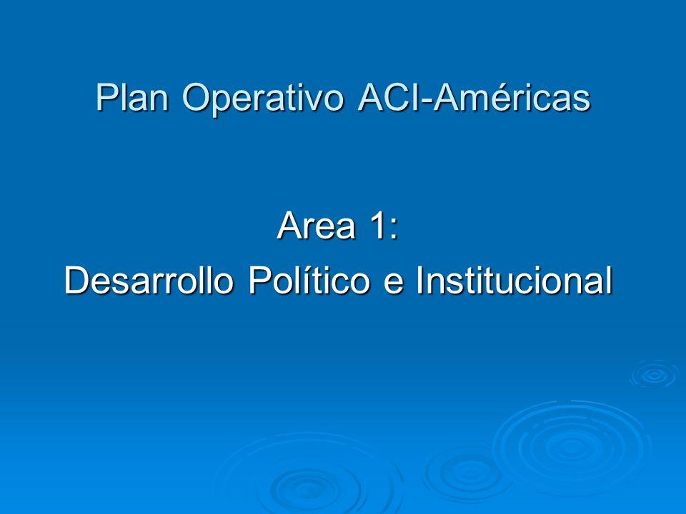 Plan Operativo ACI-Américas Area 1: Desarrollo Político e Institucional