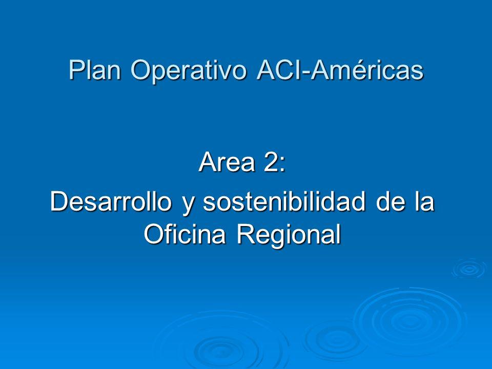 Plan Operativo ACI-Américas Area 2: Desarrollo y sostenibilidad de la Oficina Regional