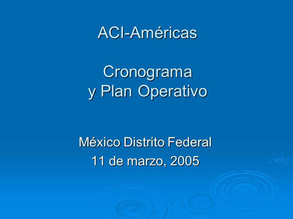 ACI-Américas Cronograma y Plan Operativo México Distrito Federal 11 de marzo, 2005