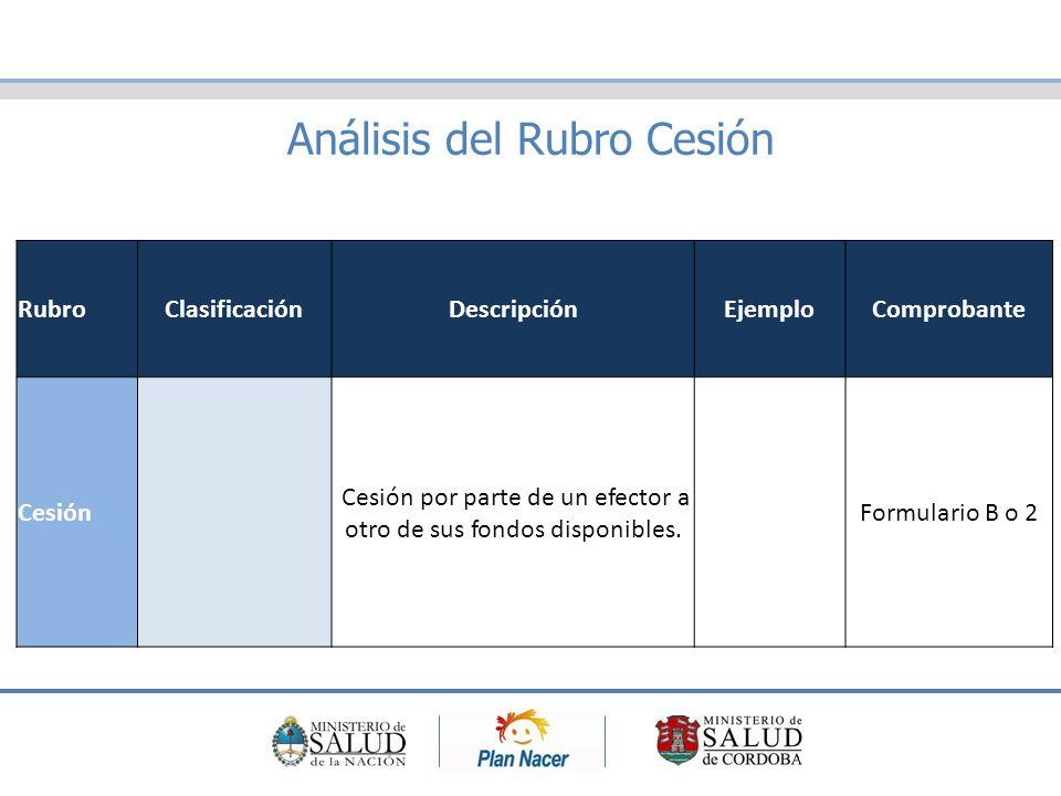 Análisis del Rubro Cesión RubroClasificaciónDescripciónEjemploComprobante Cesión Cesión por parte de un efector a otro de sus fondos disponibles.