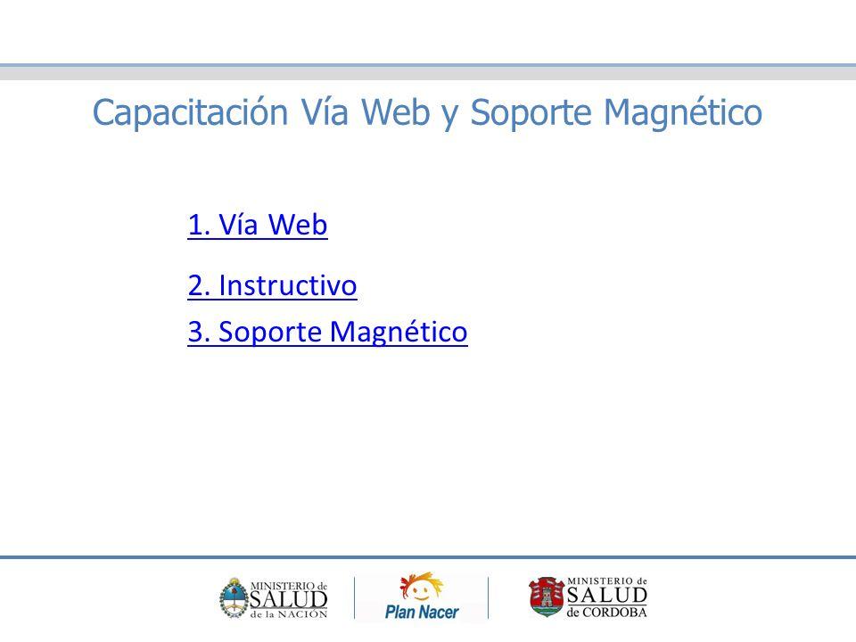 Capacitación Vía Web y Soporte Magnético 1. Vía Web 2. Instructivo 3. Soporte Magnético