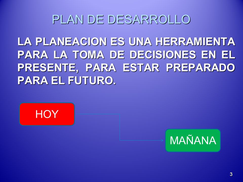 PLAN DE DESARROLLO LA PLANEACION ES UNA HERRAMIENTA PARA LA TOMA DE DECISIONES EN EL PRESENTE, PARA ESTAR PREPARADO PARA EL FUTURO. LA PLANEACION ES U