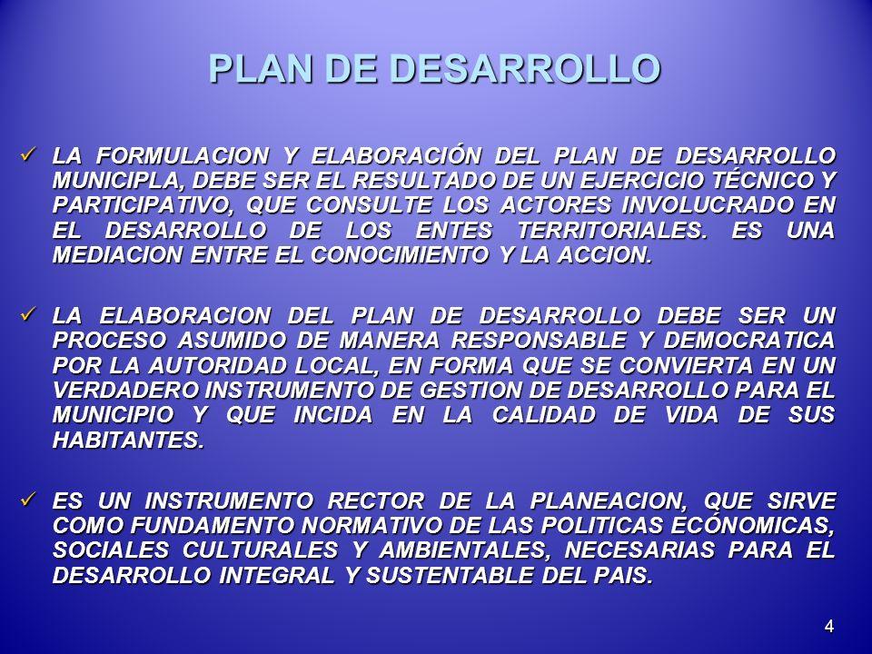 PLAN DE DESARROLLO LA FORMULACION Y ELABORACIÓN DEL PLAN DE DESARROLLO MUNICIPLA, DEBE SER EL RESULTADO DE UN EJERCICIO TÉCNICO Y PARTICIPATIVO, QUE CONSULTE LOS ACTORES INVOLUCRADO EN EL DESARROLLO DE LOS ENTES TERRITORIALES.