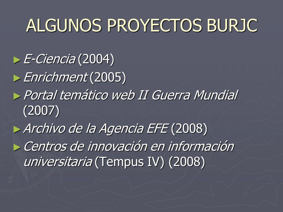 ALGUNOS PROYECTOS BURJC E-Ciencia (2004) E-Ciencia (2004) Enrichment (2005) Enrichment (2005) Portal temático web II Guerra Mundial (2007) Portal temático web II Guerra Mundial (2007) Archivo de la Agencia EFE (2008) Archivo de la Agencia EFE (2008) Centros de innovación en información universitaria (Tempus IV) (2008) Centros de innovación en información universitaria (Tempus IV) (2008)