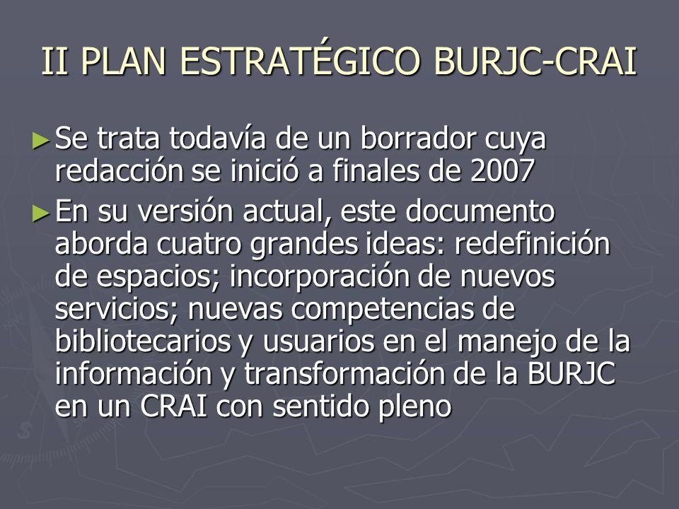 II PLAN ESTRATÉGICO BURJC-CRAI Se trata todavía de un borrador cuya redacción se inició a finales de 2007 Se trata todavía de un borrador cuya redacci